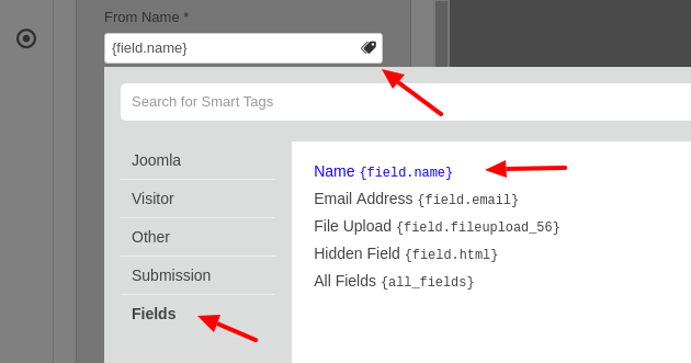 convert forms email notification from name smart tags