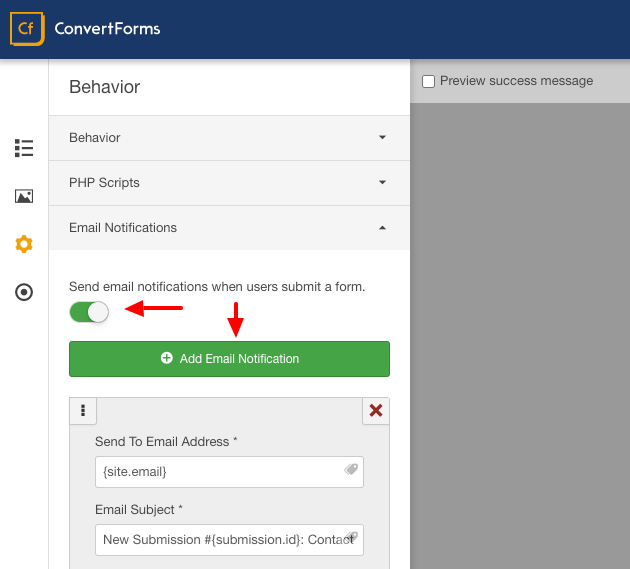 convert forms add email notification