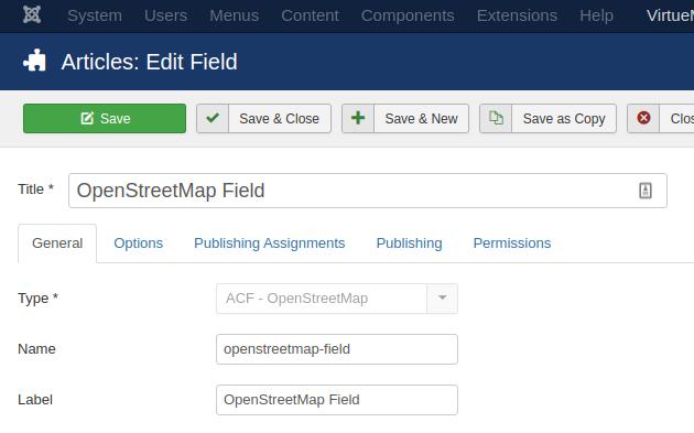 Advanced Custom Fields OpenStreetMap Field Settings