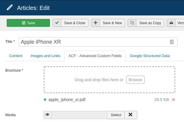 Joomla File Upload Custom Field