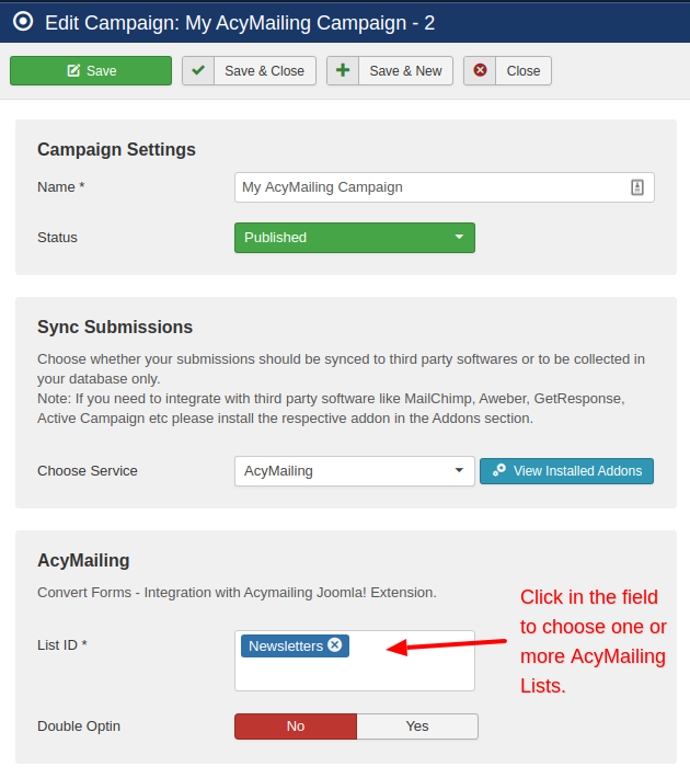 acymailing campaign convert forms