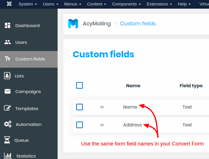 acymailing custom fields