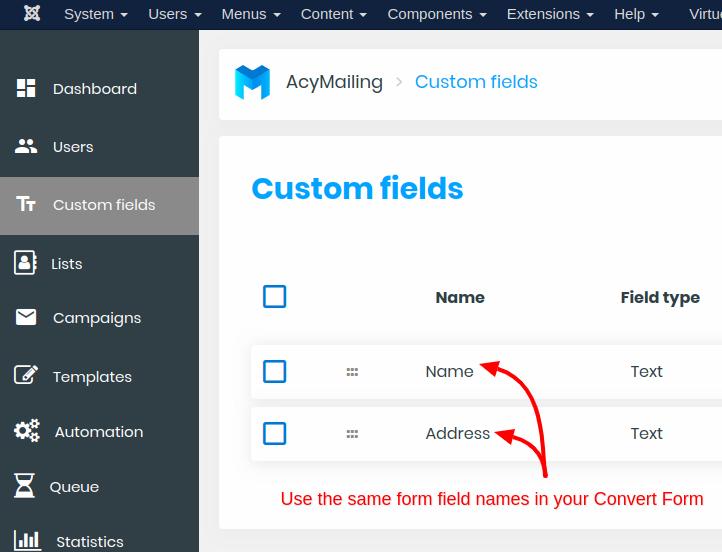 acymailing custom fields