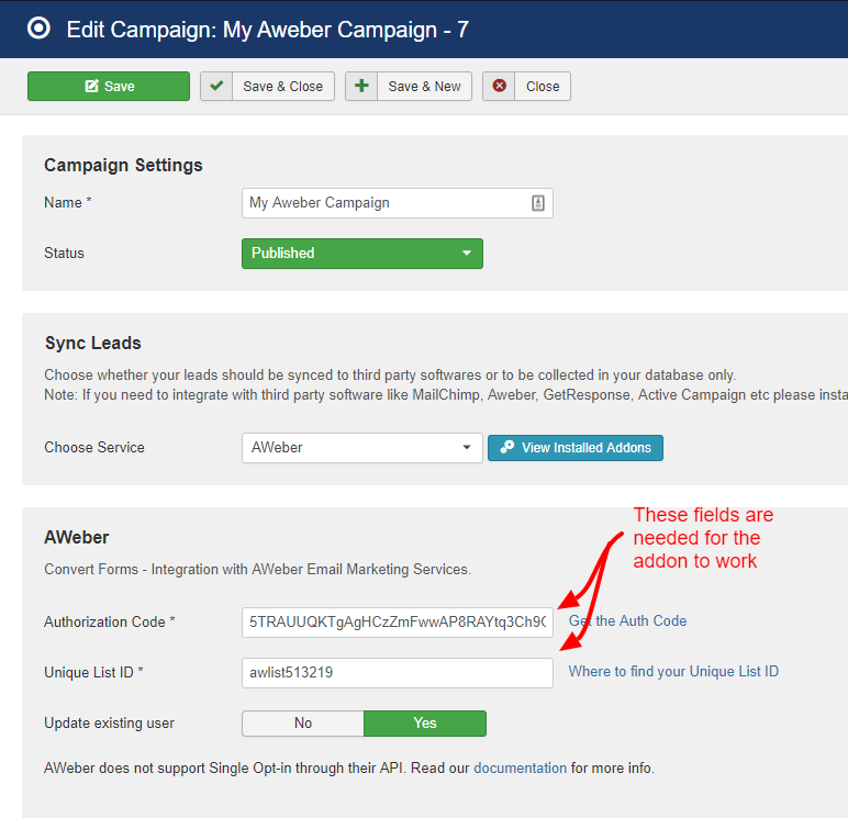 aweber campaign convert forms