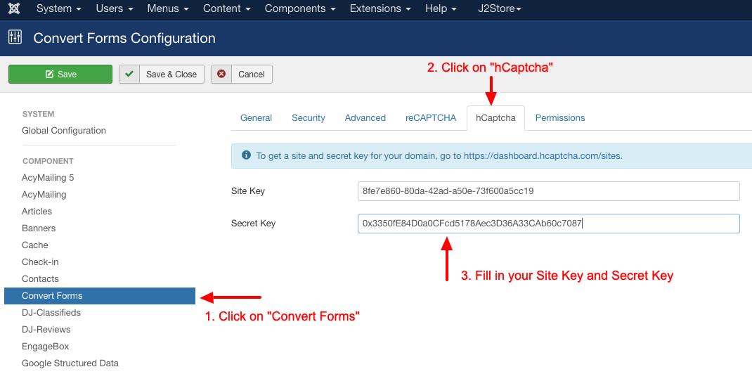 convert forms hcaptcha configuration add keys
