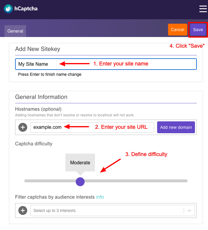 convert forms hcaptcha register new site save