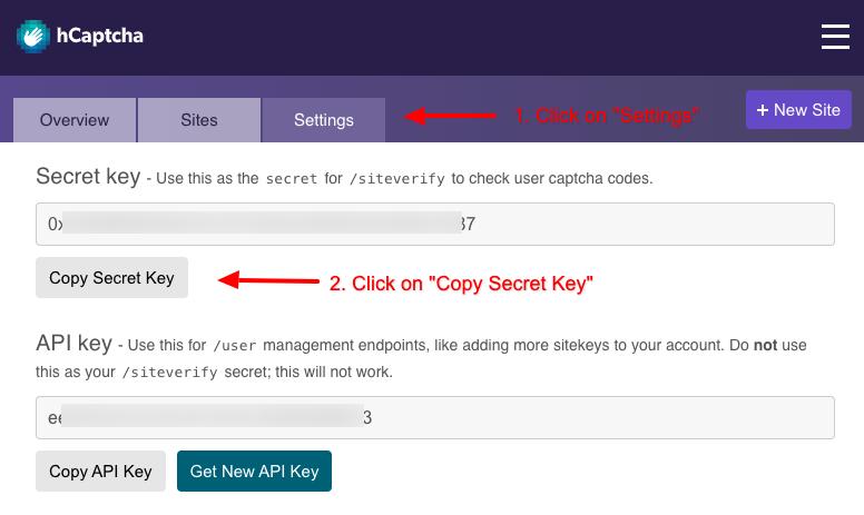 convert forms hcaptcha secret key