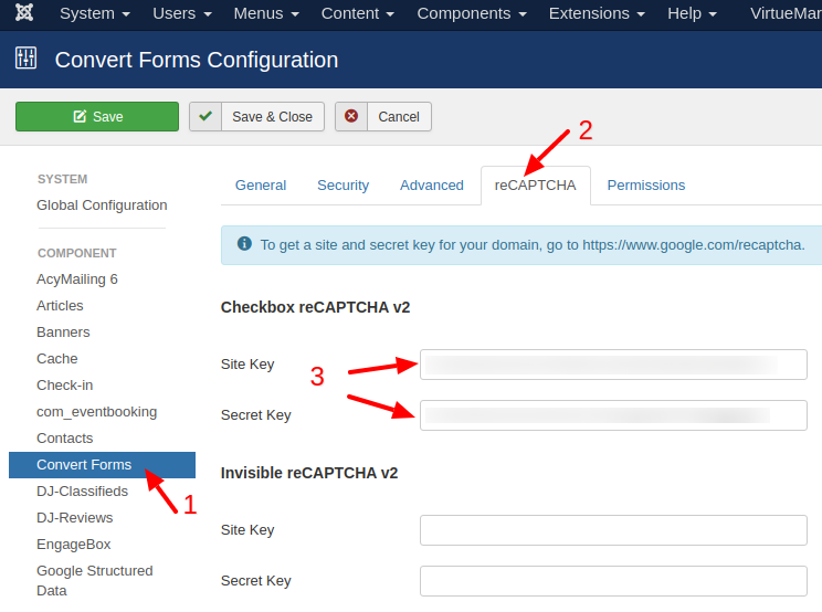 convert forms recaptcha configuration add keys