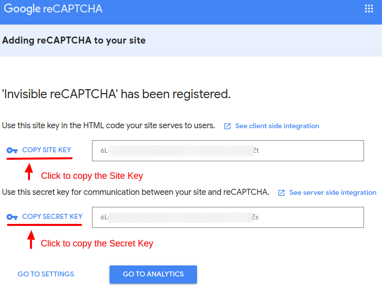 convert forms invisible recaptcha keys
