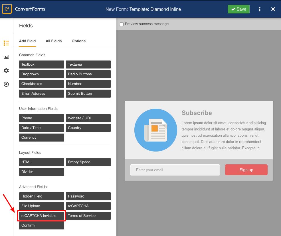 convert forms select recaptcha field