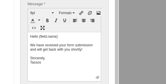 convert forms administrator email notification