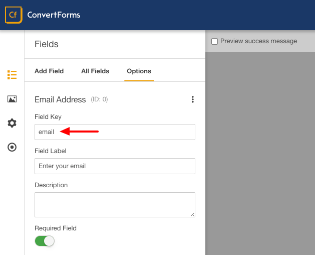 icontact convert forms email field