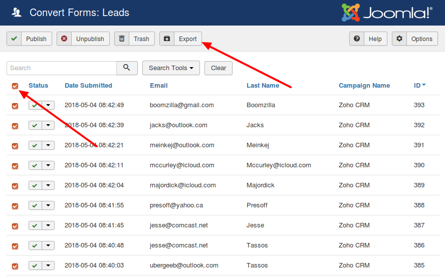 convert forms export leads
