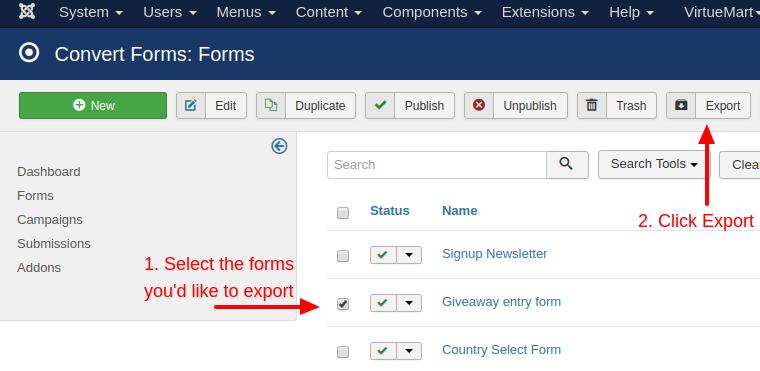 convert forms export