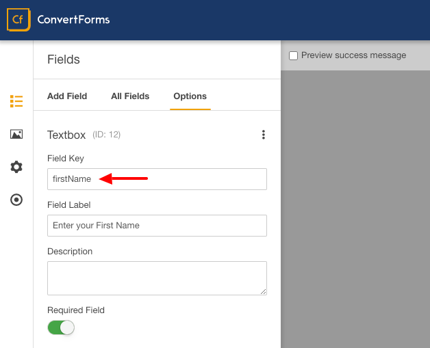 icontact convert forms first name field