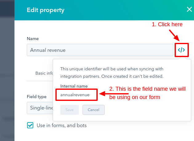 hubspot custom field name