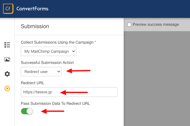 convert forms redirect user