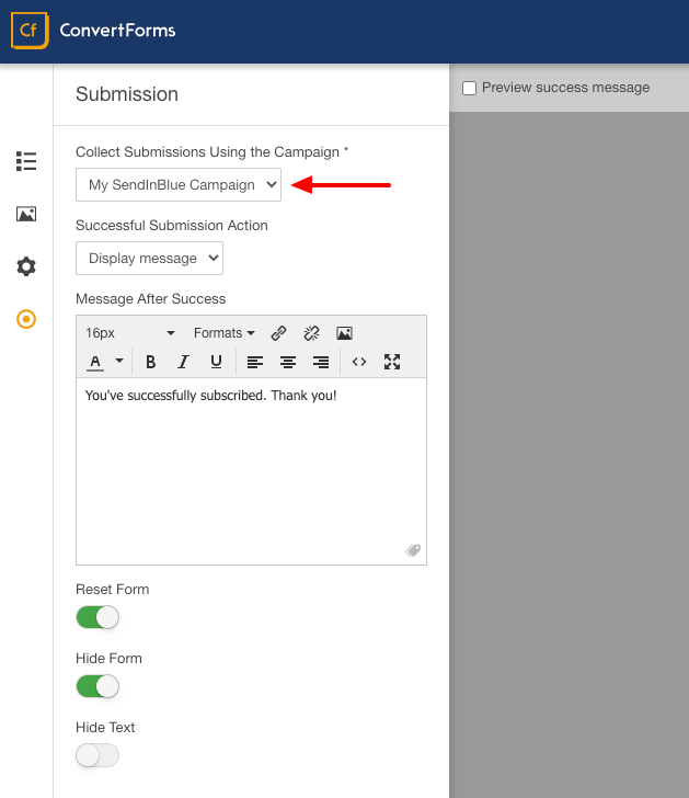sendinblue convert forms assignment
