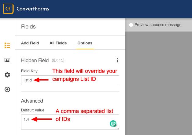 sendinblue convert forms override listid