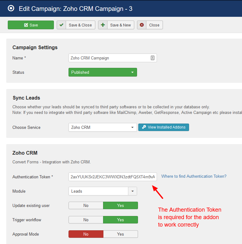 Zoho CRM campaign convert forms