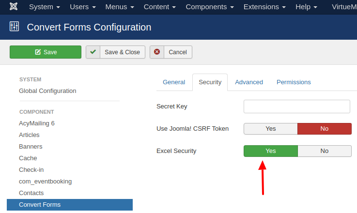 convert forms excel security