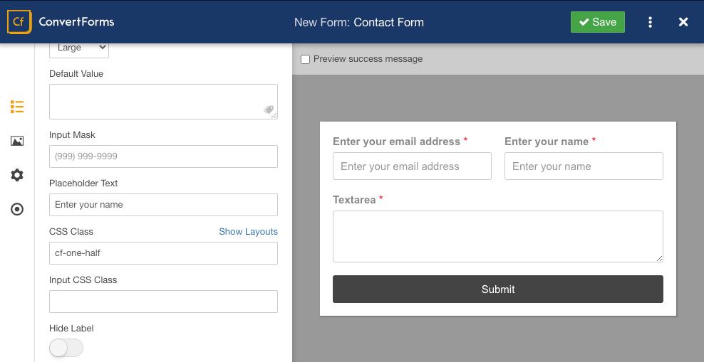 convert forms multi column demo