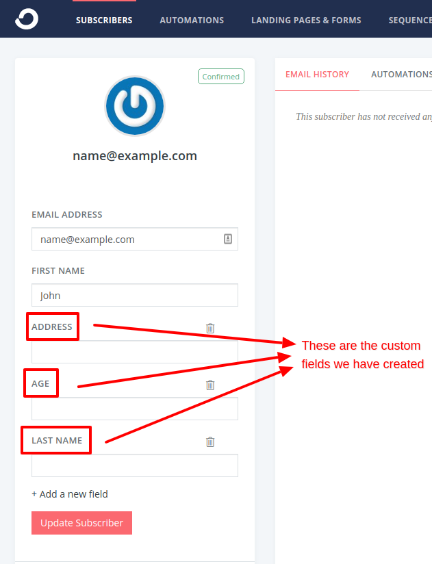 convertkit custom fields