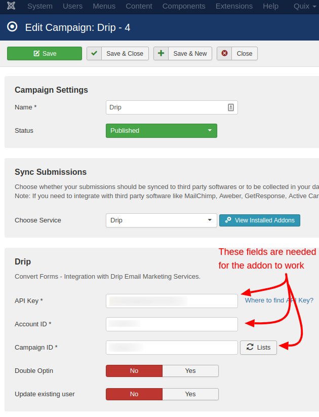 drip campaign convert forms