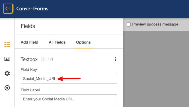 drip custom fields social media url