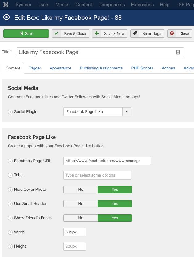 engagebox facebook like settings