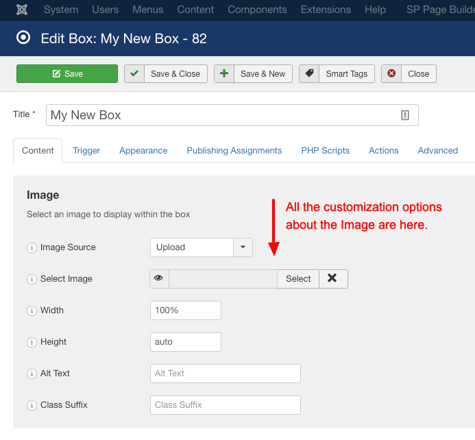 the image customizations for the image box type