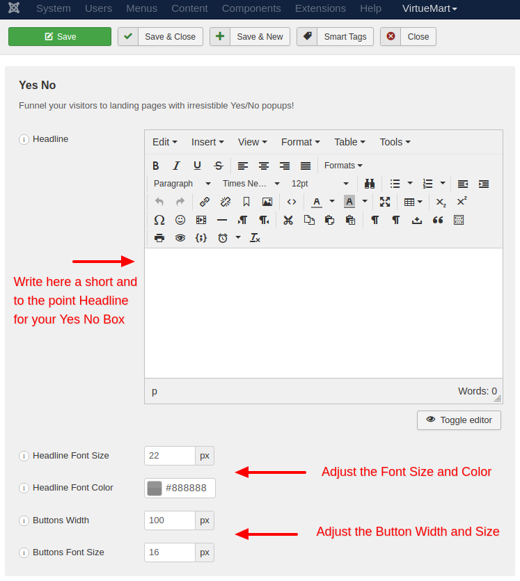 the yes no box text settings