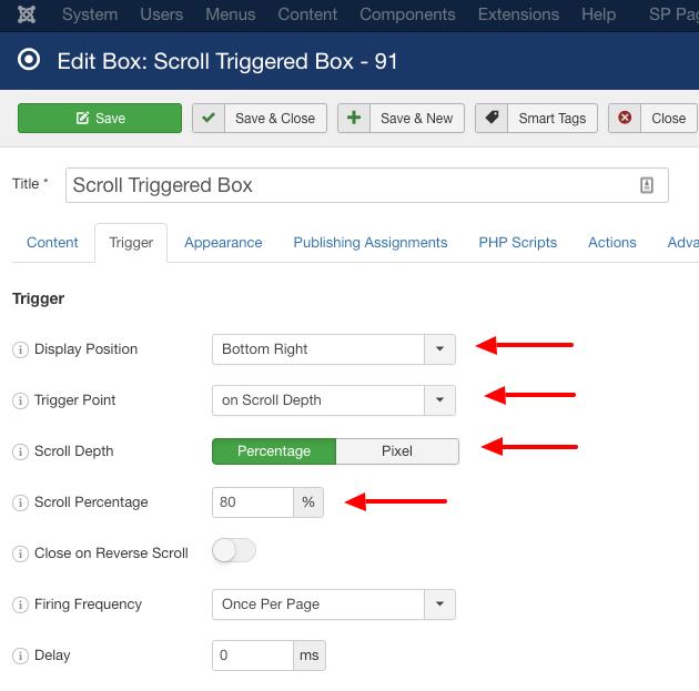 EngageBox Scroll Trigered Box Trigger Settings