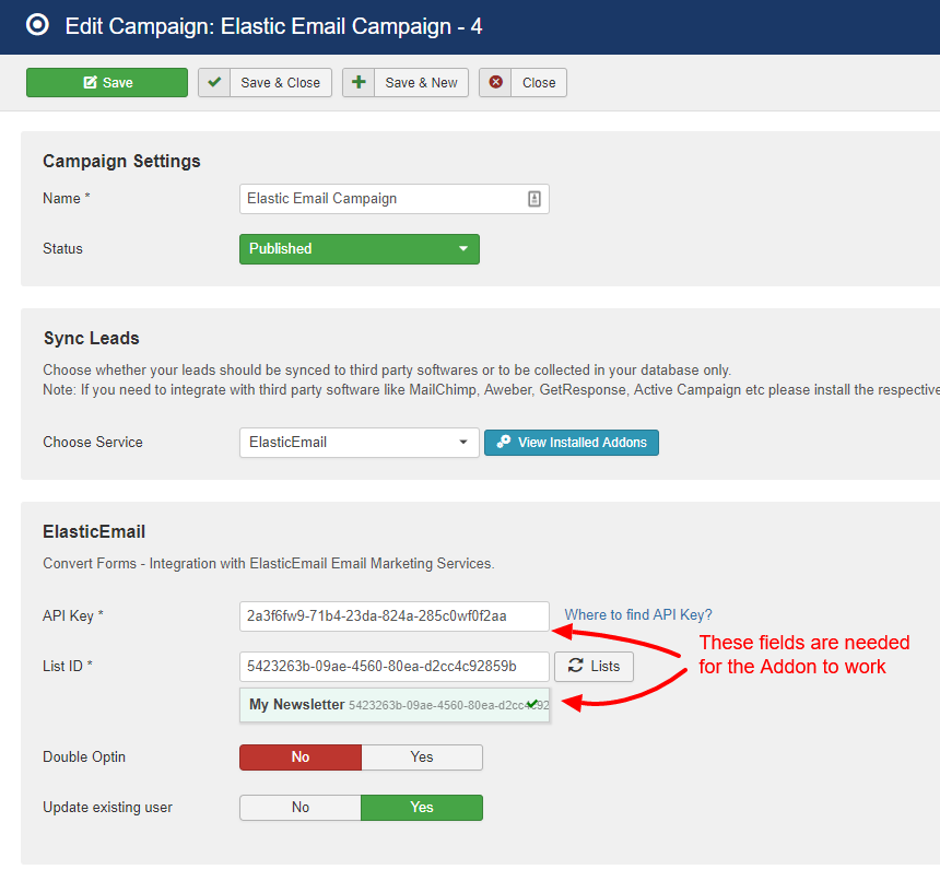 elasticemail campaign convert forms