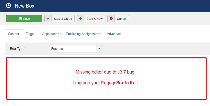 EngageBox Missing Editor