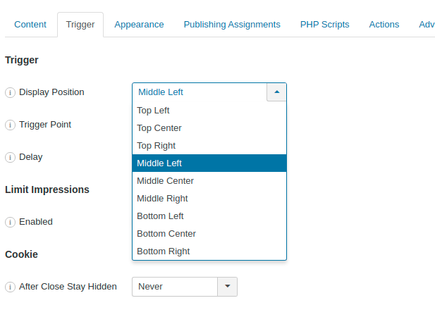 Position Joomla Popup in the Midle Left or Middle Right area of the page