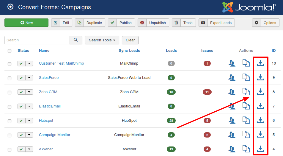 export leads from a campaign