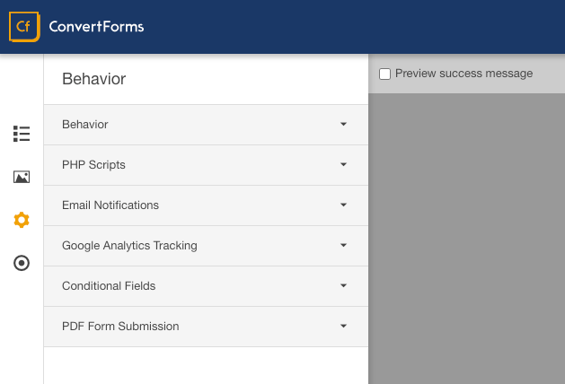 form builder behavior tab