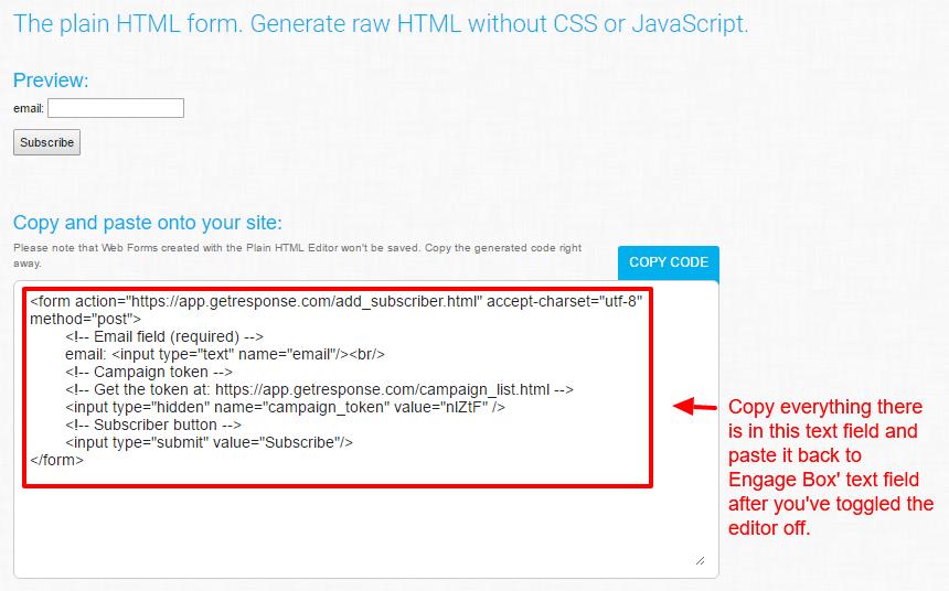 GetResponse Plain HTML Form