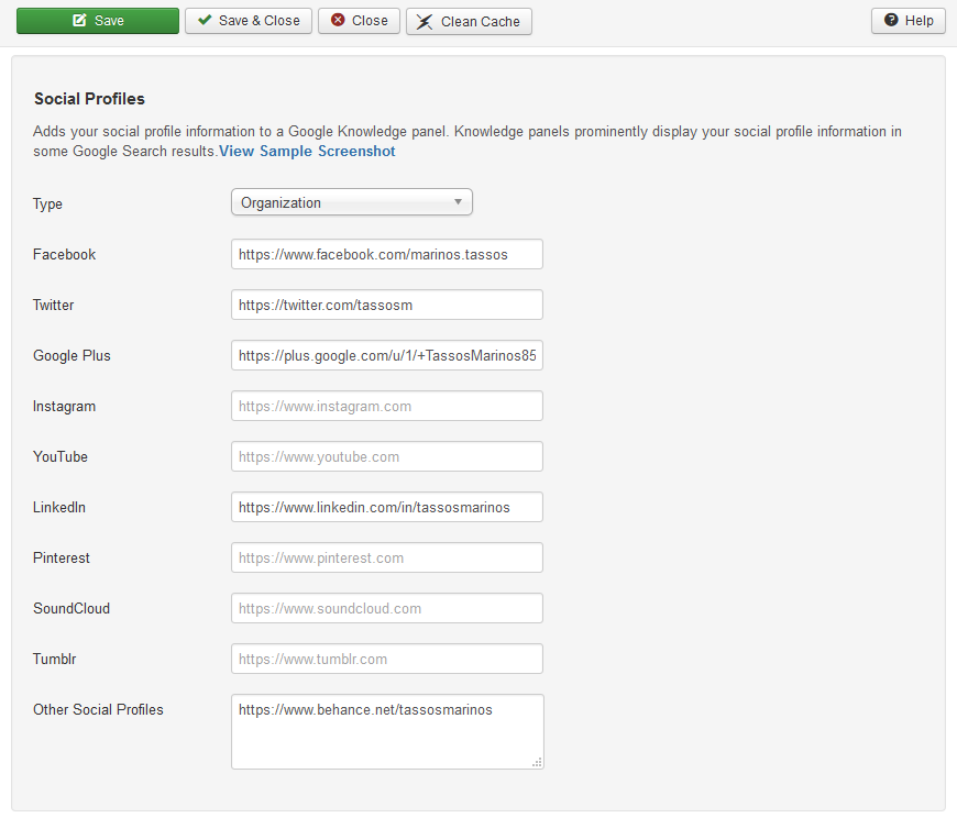 The options of Google Structured Data Markup on Joomla