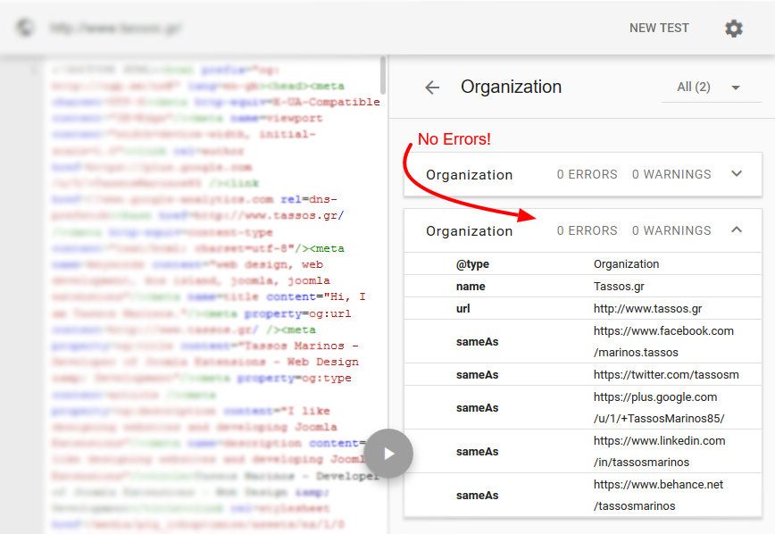 No errors on the Google Structured Data Testing Tool