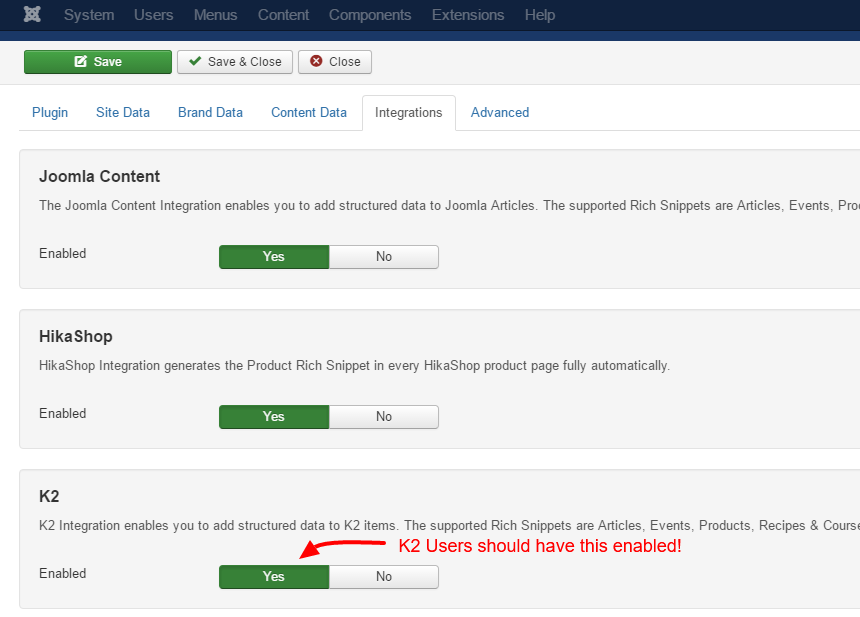 Activate K2 Integration in Google Structured Data Markup