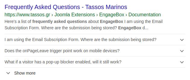 faq google results