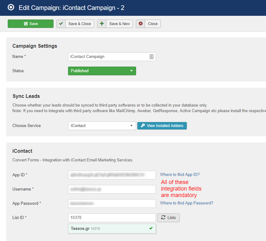 icontact campaign convert forms