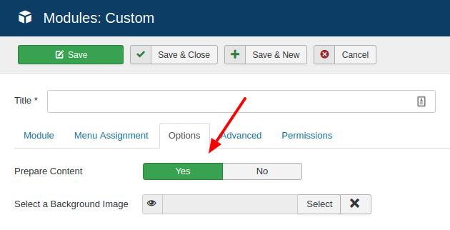 modules prepare content option