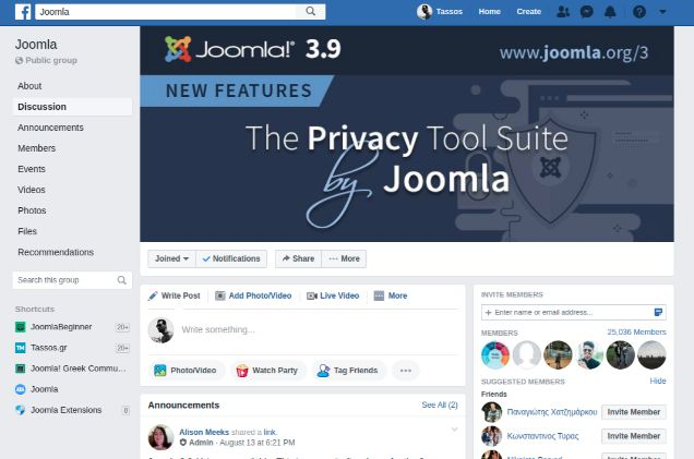 Joomla Facebook Group