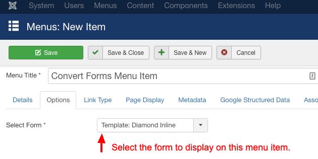 select convert form menu item