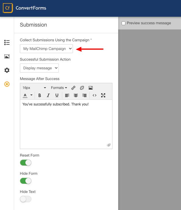 mailchimp convert forms assign
