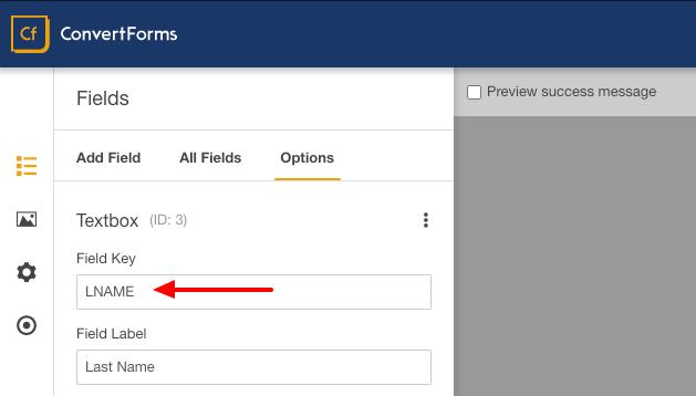 mailchimp convert form last name field