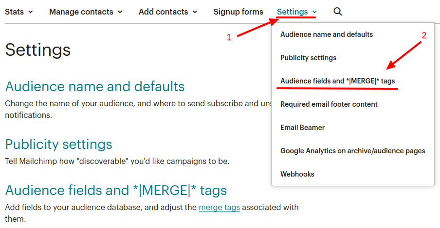 mailchimp merge tags list settings